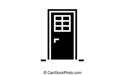 door with window animated glyph icon. door with window sign. isolated on white background