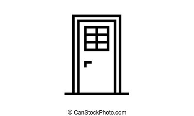 door with window animated black icon. door with window sign. isolated on white background