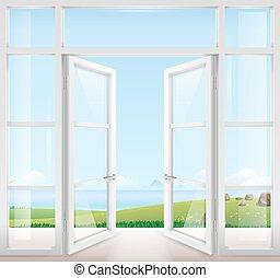 Door with window to the terrace