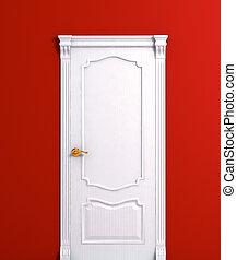 Door wooden white house interior detail. Vector illustration.