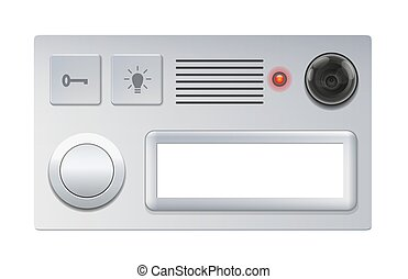 Doorbell with camera, push button and blank name plate - isolated vector illustration on white background.