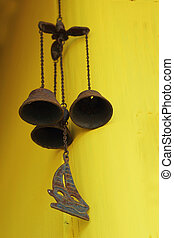 Doorbell old vintage - hanging on yellow wall.