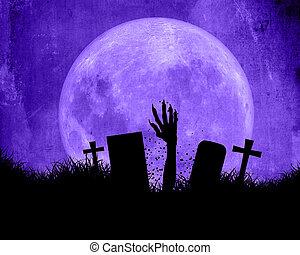 doorbraak, halloween, hand, zombie, achtergrond, uit, grond
