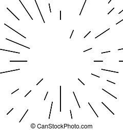 doorbraak, model, lijnen, radiaal, monochroom, geometrisch, circulaire