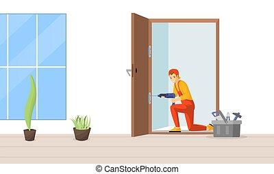 doorframe, vektor, profi, fiatal, lakás, character., rögzítő, kézműves, bevezetés, ajtó, illustration., fúr, zsanér, szakképzett, ács, elektromos, repairman, karikatúra, alkalmas, fizikai munkás, használ