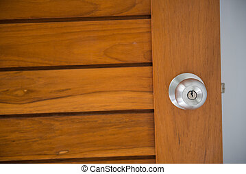 doorknob on the wood door