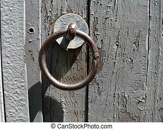 The Metallic ring on old door.