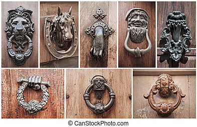 doorknocker, collage.