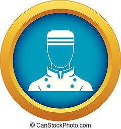 Doorman icon blue vector isolated