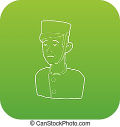 Doorman icon green vector