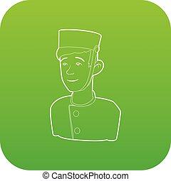 Doorman icon green vector