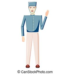 Doorman in a blue uniform icon, cartoon style