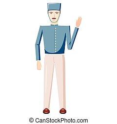 Doorman in a blue uniform icon, cartoon style