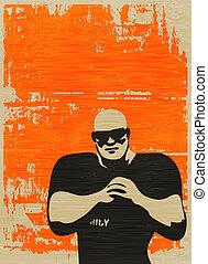 Doorman Poster, Bouncer on grunged paper background for an...