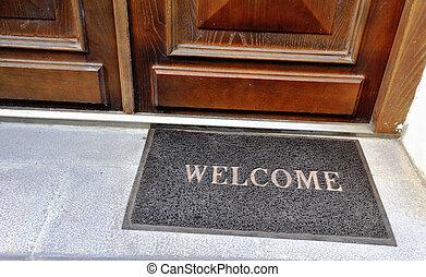 doormat, ingang, welkom teken