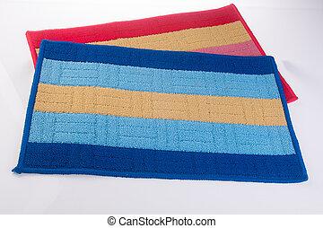 doormat, kleurrijke, voetjes, poetsen, of, tapijt