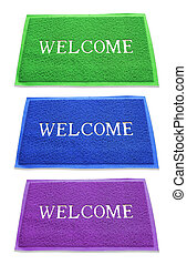 doormat of welcome text on white background.