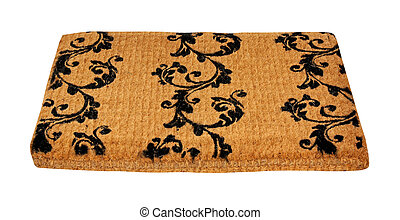 Doormat - Plain beige doormat isolated with clipping path ...