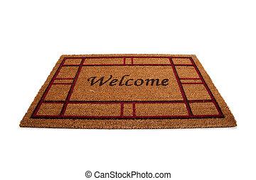doormat, tapijt, witte , welkom, of