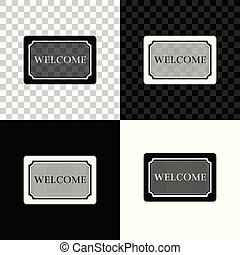 Doormat with the text Welcome icon isolated on black, white and transparent background. Welcome mat sign. Vector Illustration