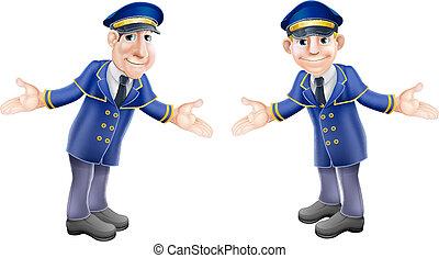 Doormen or bellhops - A cartoon illustration of two...