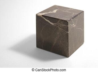 doorregen, kubus, steen