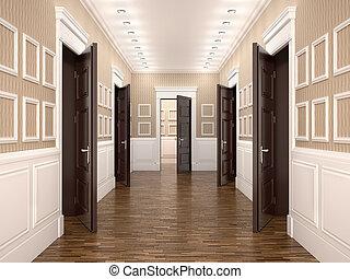 doors., 開いた, 廊下, イラスト, 3d