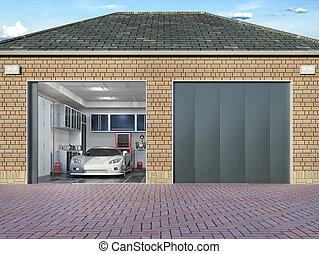 doors., buitenkant, illustratie, bankstel, garage, 3d