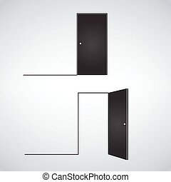 open front door illustration doors closed and open vector illustration in flat style design isolated on white doors illustration of set cartoon front doors