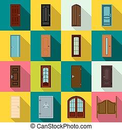 Doors icons set, flat style