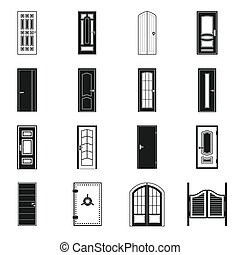 Doors icons set, simple style
