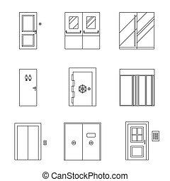 Doors line icons.