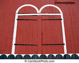 Doors of Old Red Pennsylvania Barn - Wooden doorway detail...