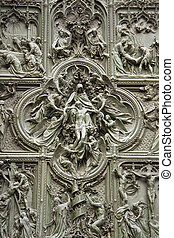 Doors of the cathedral in Milan, Italy