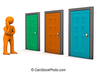 Orange cartoon character with three colorful doors. White background.