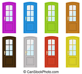 Doors - Set of multicoloured doors on a white background