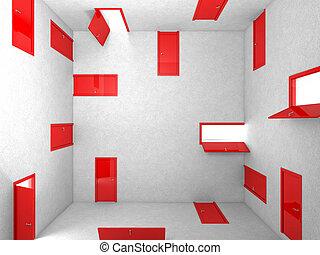 doors - 3d image of abstract red doors