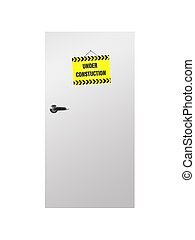 Doors - A conceptual wooden door with sign isolated on white