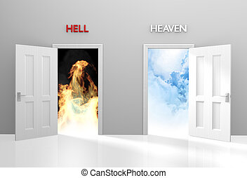 Doors to heaven and hell representing Christian belief and...