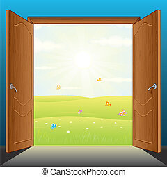 Doors to Nature Vector - Beauty Landscape Behind the Opened...