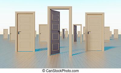 doors to the world of opportunities 3D rendering