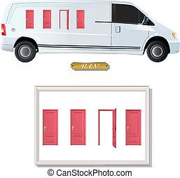 doors., vit, skåpbil, röd