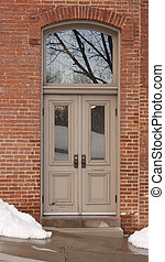 Doors with Transom 0254_210 - Antique wood doors on old...