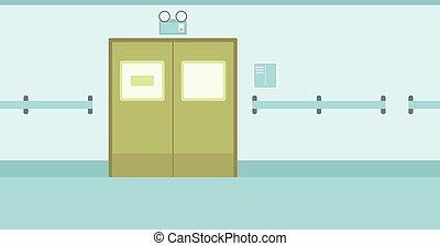 doors., ziekenhuis corridor, achtergrond, gesloten