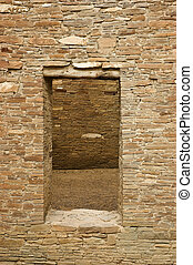 Doorway into inner room of the ancient Anasazi city of Pueblo Bonito, Chaco Canyon, New Mexico showing skill of stone building.