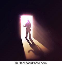 doorway., frau, durch