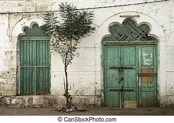 doorway in massawa eritrea with ottoman influence