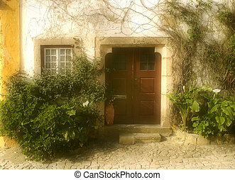 Doorway, Obidos, Portugal - Attractive doorway to a house in...
