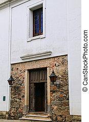 Doorway of Basilica of the Holy Sacrament in Colonia del Sacramento, Uruguay