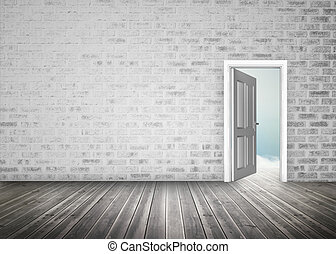Doorway opening to blue sky in grey brick wall room